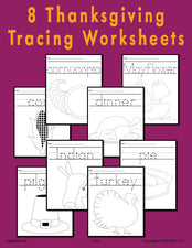 8 Printable Thanksgiving Tracing Worksheets & Handwriting Worksheets!