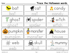 FREE Printable Halloween Words Tracing Worksheet!