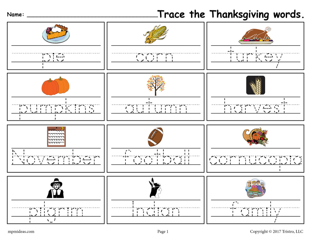 free printable thanksgiving words handwriting tracing worksheet supplyme. Black Bedroom Furniture Sets. Home Design Ideas