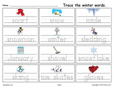 FREE Printable Winter Words Handwriting & Tracing Worksheet!