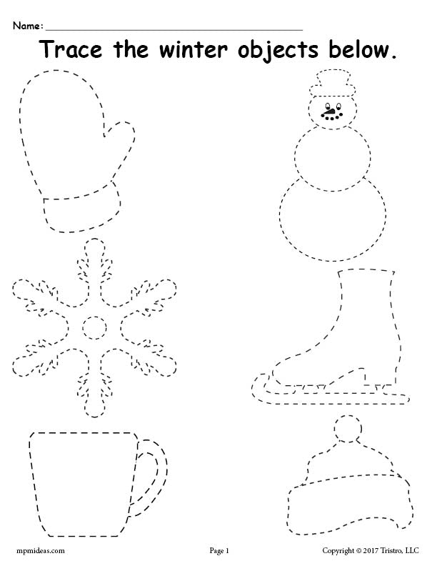 free printable winter tracing worksheet supplyme. Black Bedroom Furniture Sets. Home Design Ideas