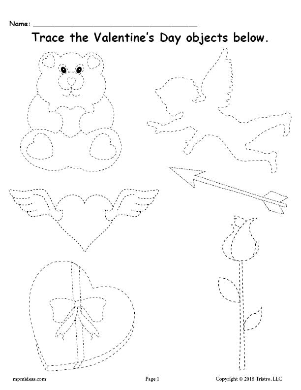 FREE Printable Valentine's Day Tracing Worksheet!