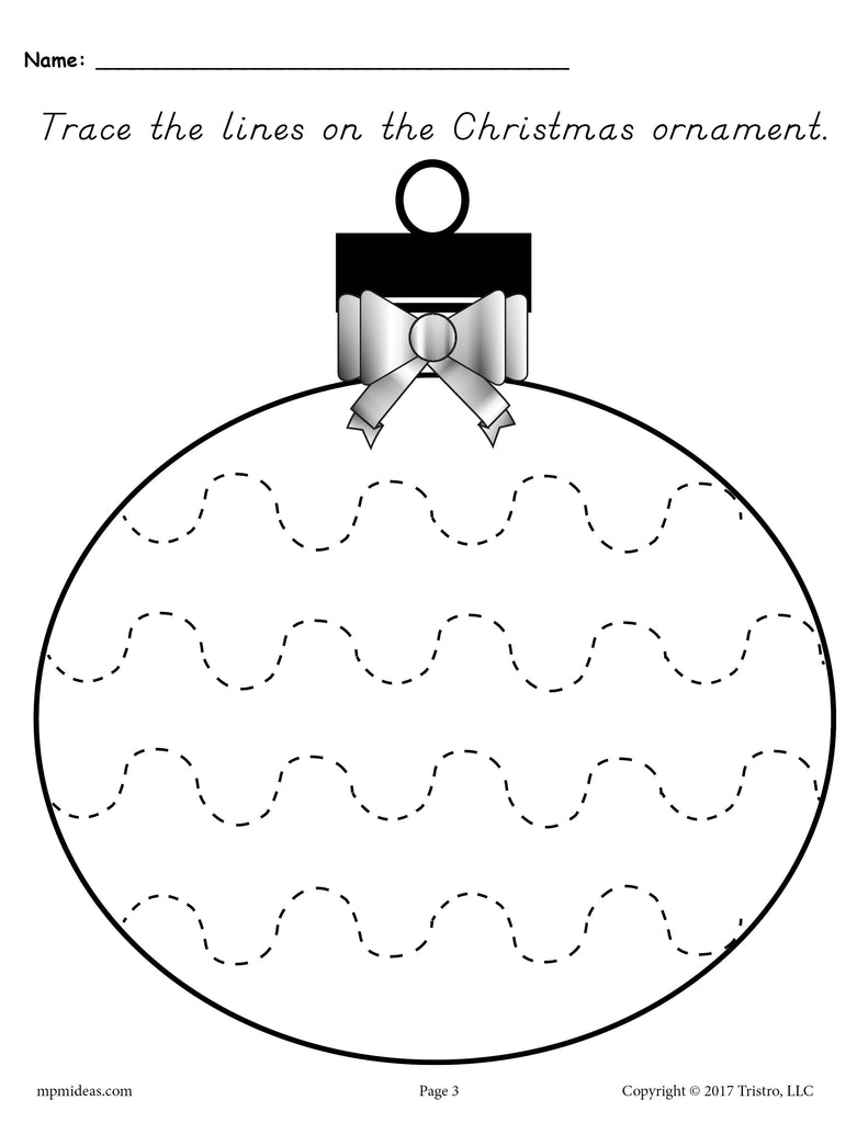 FREE Printable Christmas Ornament Line Tracing Worksheets ...