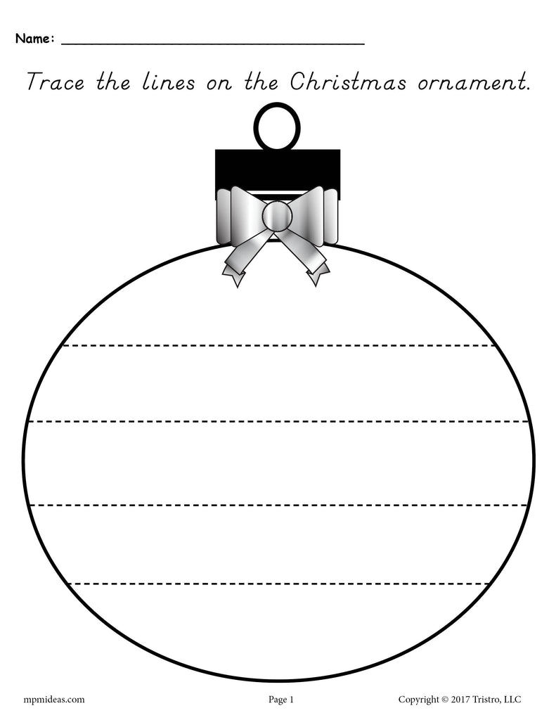 Free Printable Christmas Ornaments.Free Printable Christmas Ornament Line Tracing Worksheets