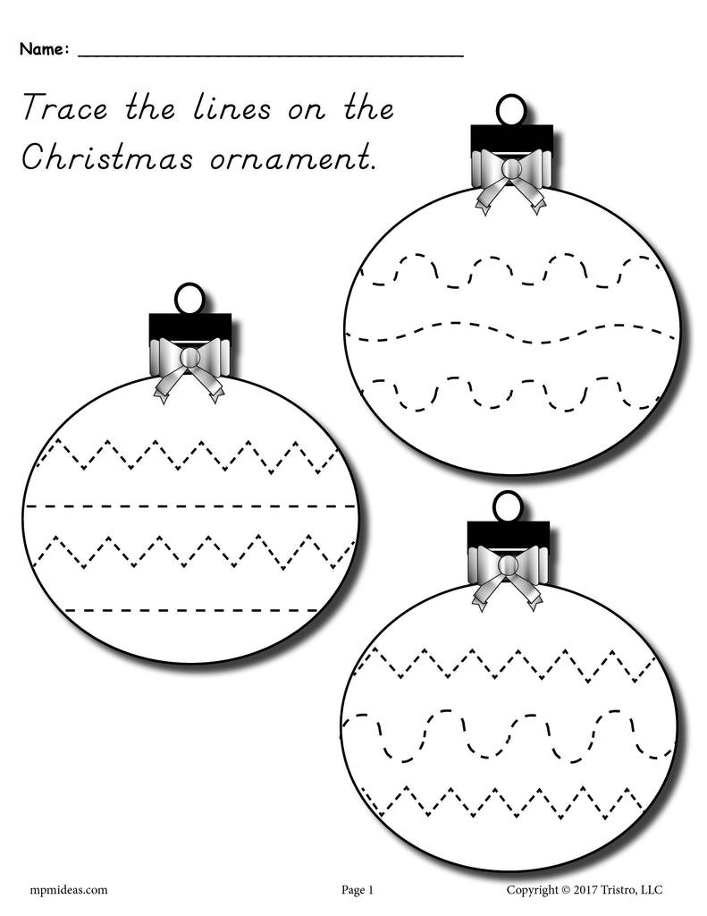 picture about Free Printable Christmas Ornaments identified as No cost Printable Xmas Ornament Line Tracing Worksheet