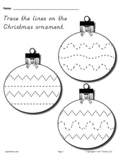 FREE Printable Christmas Ornament Line Tracing Worksheet!