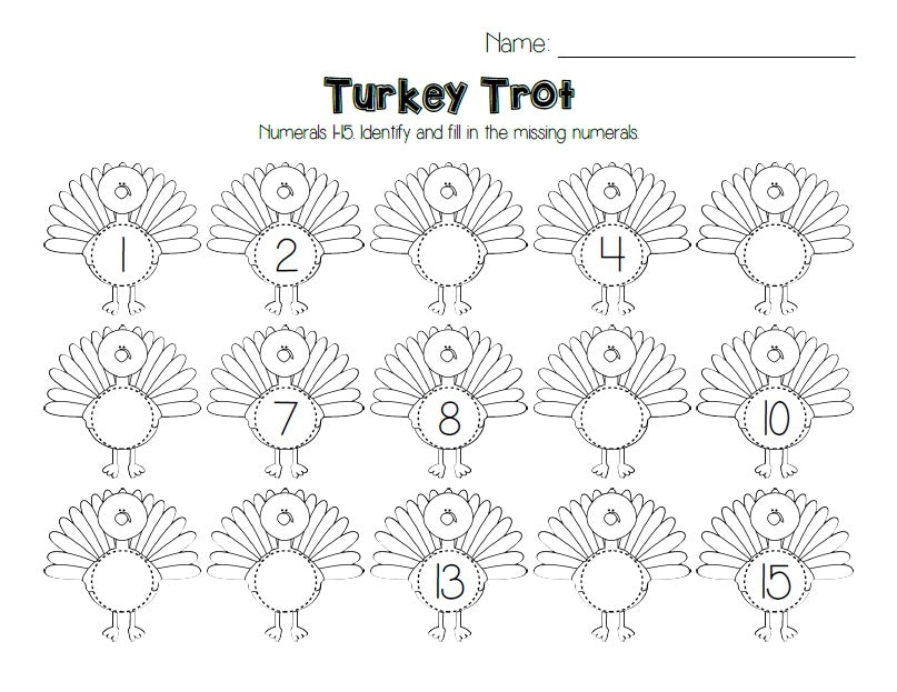 Turkey Trot - Thanksgiving Number Ordering Activity