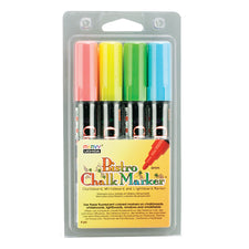Bistro Fluorescent Chalk Markers, Set of 4 (Red, Blue, Green, Yellow)