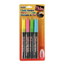 Bistro Fluorescent Fine Tip Chalk Markers, Set of 4