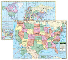KAPPA Map Group U.S. & World Primary Deskpad Maps, 5 Pack
