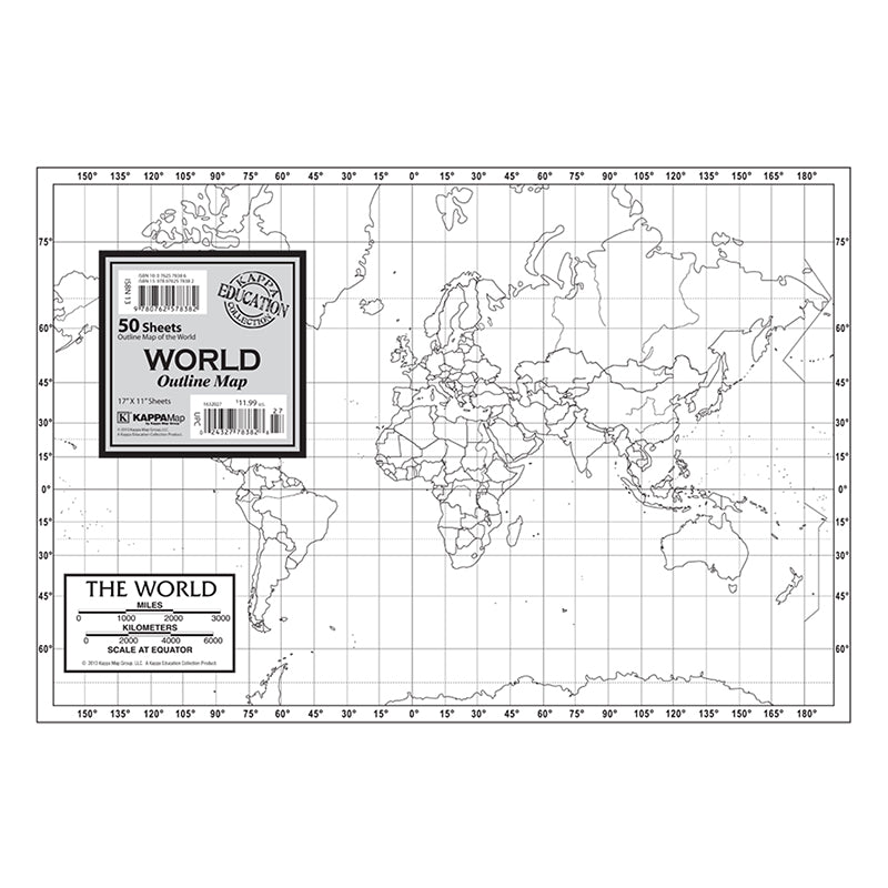 KAPPA Map Group World Outline Study Map, 50 Sheets