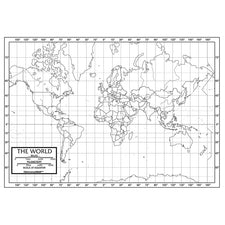 World Outline Map, 50 Sheets