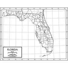 Florida Outline Map, 50 Pack (Laminated)