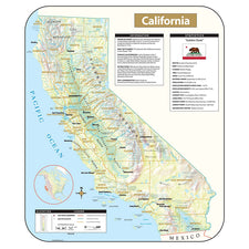 California Shaded Relief Map, Rolled