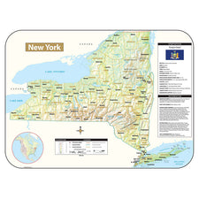 New York Shaded Relief Map, Rolled