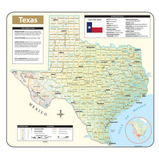 Texas Shaded Relief Map, Rolled