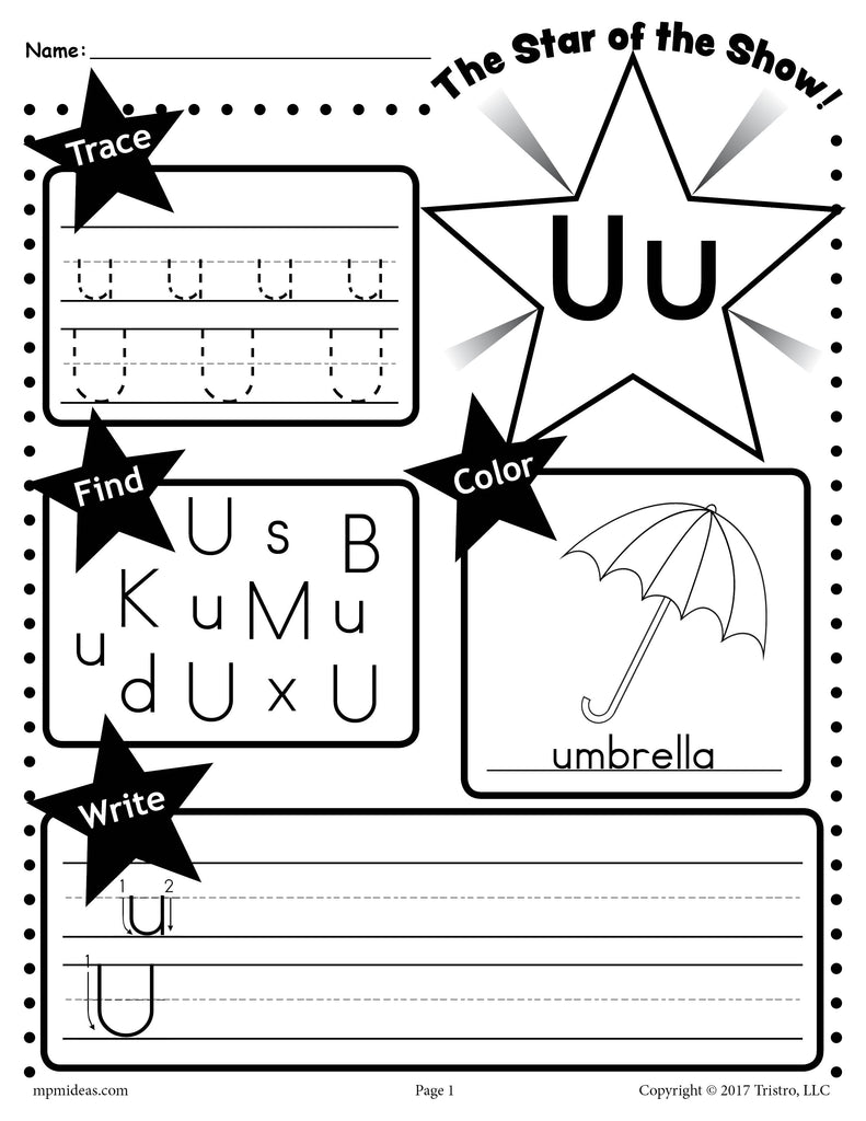 FREE Letter U Worksheet: Tracing, Coloring, Writing & More!