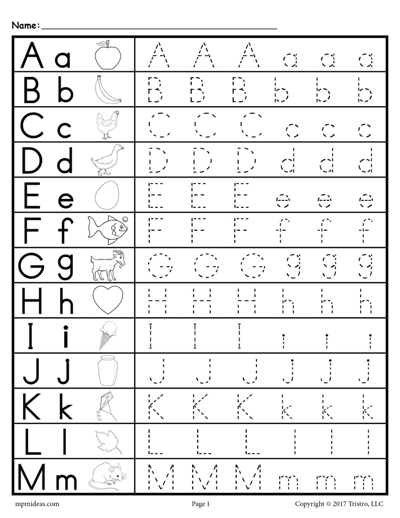 Free uppercase and lowercase letter tracing worksheets for Free printable name tracing templates