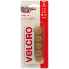 "VELCRO® Brand Sticky Back 5/8"" Circles, 15 Sets, Beige"