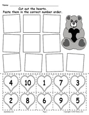FREE Printable Valentine's Day Hearts Number Ordering Worksheet Numbers 1-10!