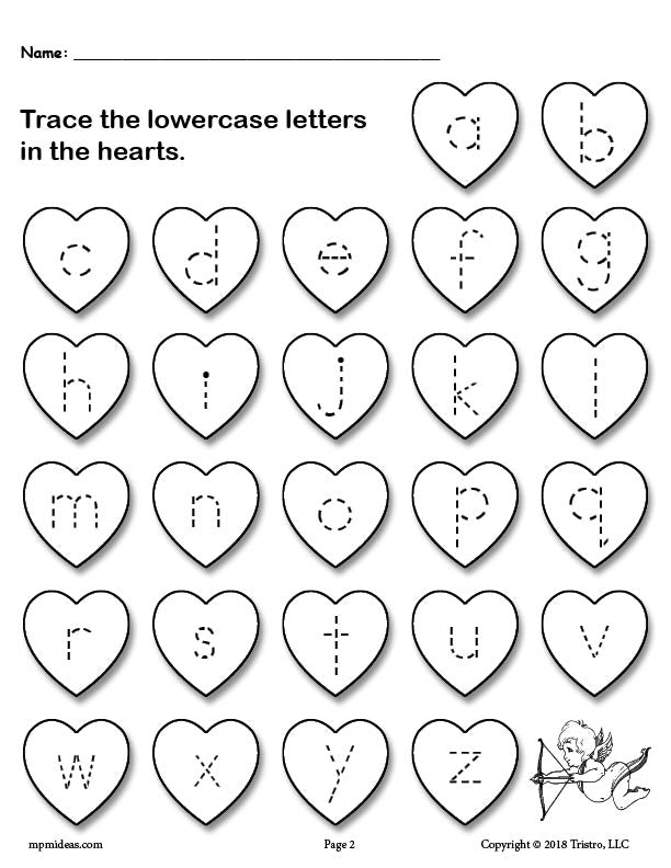 Valentine Hearts Lowercase Letter Tracing Worksheet a-z
