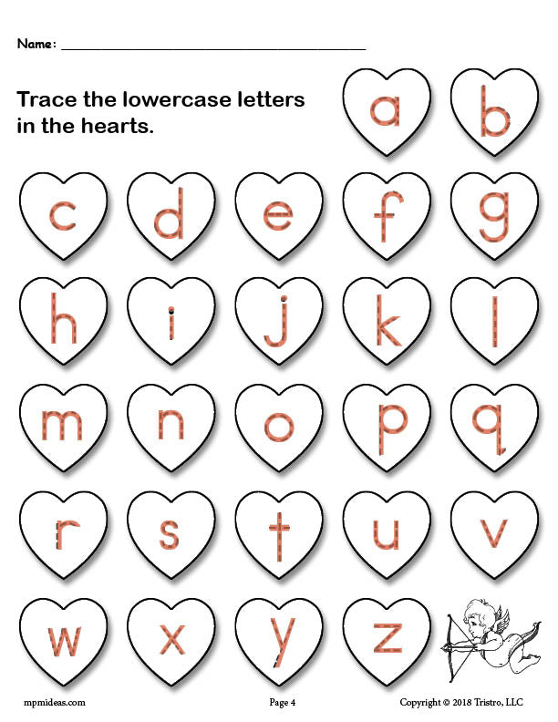 free printable valentine 39 s day uppercase and lowercase alphabet letter supplyme. Black Bedroom Furniture Sets. Home Design Ideas