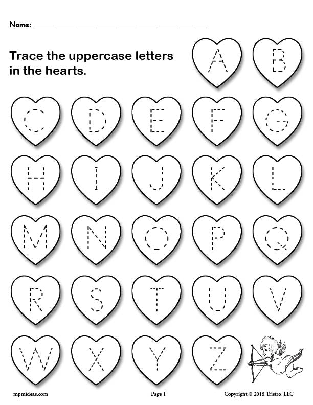 Printable Valentine's Day Uppercase And Lowercase Alphabet Letter Trac –  SupplyMe