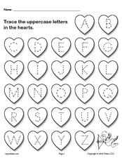 FREE Printable Valentine's Day Uppercase and Lowercase Alphabet Letter Tracing Worksheets!