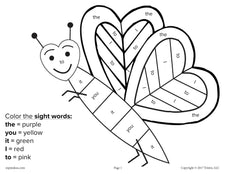 Valentine's Day Color By Sight Word - 4 Printable Worksheets!