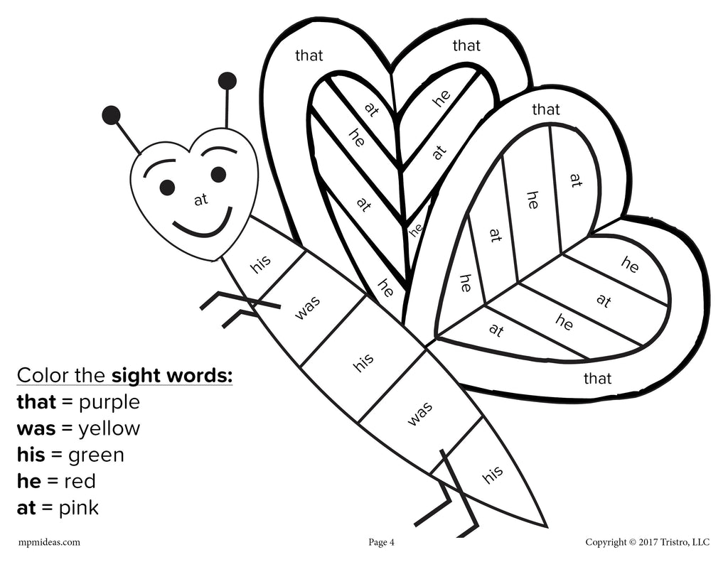 Valentine\'s Day Color By Sight Word - 4 FREE Printable Worksheets ...