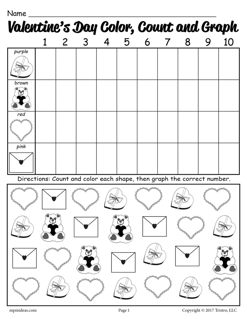 Printable Valentine's Day Color, Count, and Graph Worksheet!