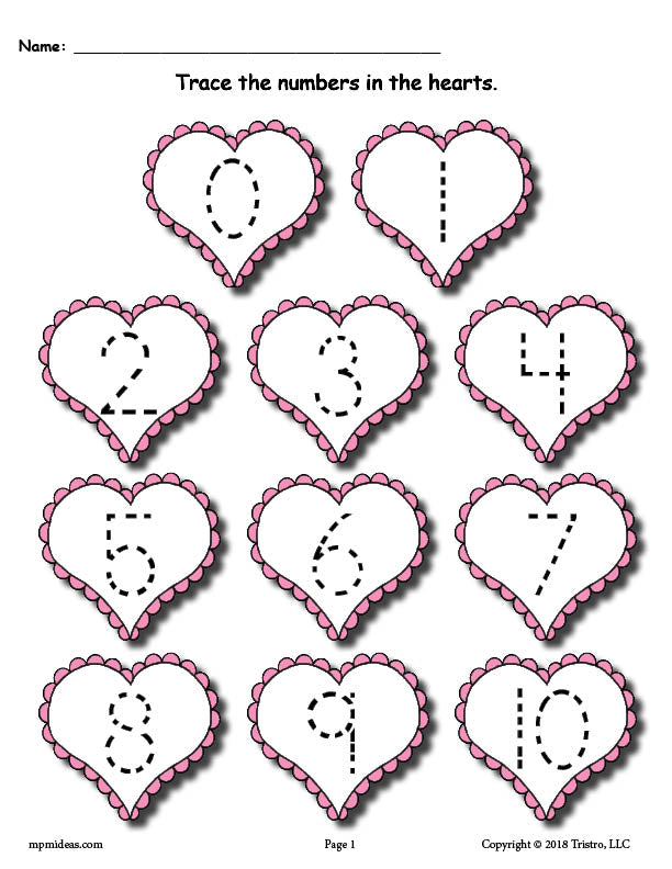FREE Printable Valentine's Day Number Tracing Worksheets 0-20!