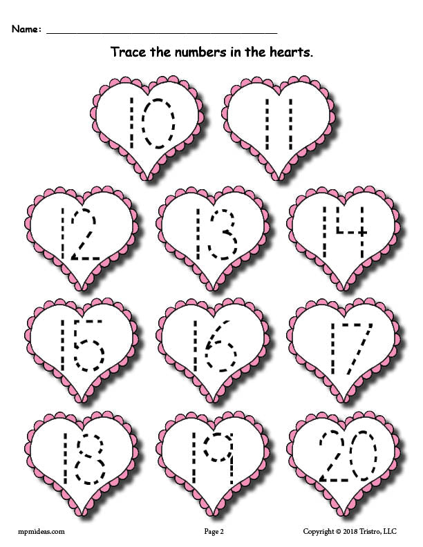 Printable Valentine's Day Number Tracing Worksheets 0-20! – SupplyMe