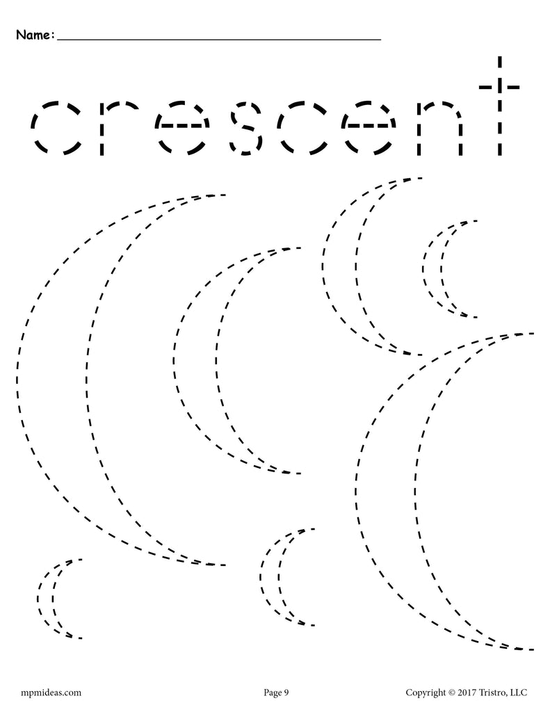 Free Crescents Tracing Worksheet Tracing Shapes