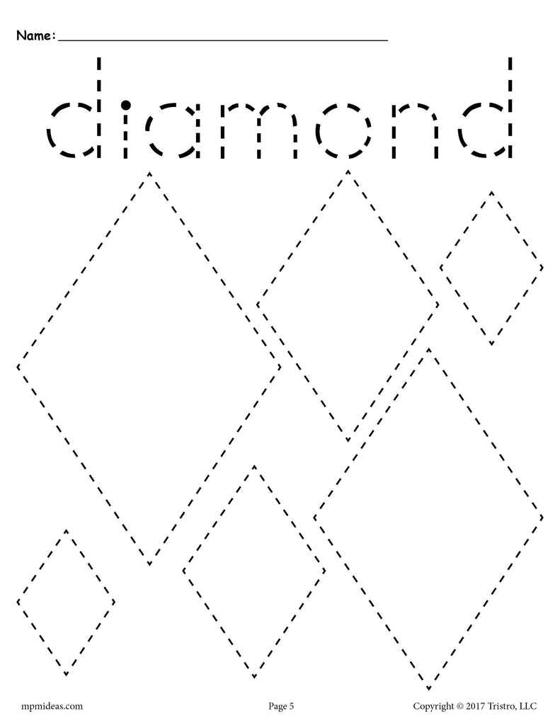 Free Diamonds Tracing Worksheet Tracing Shapes