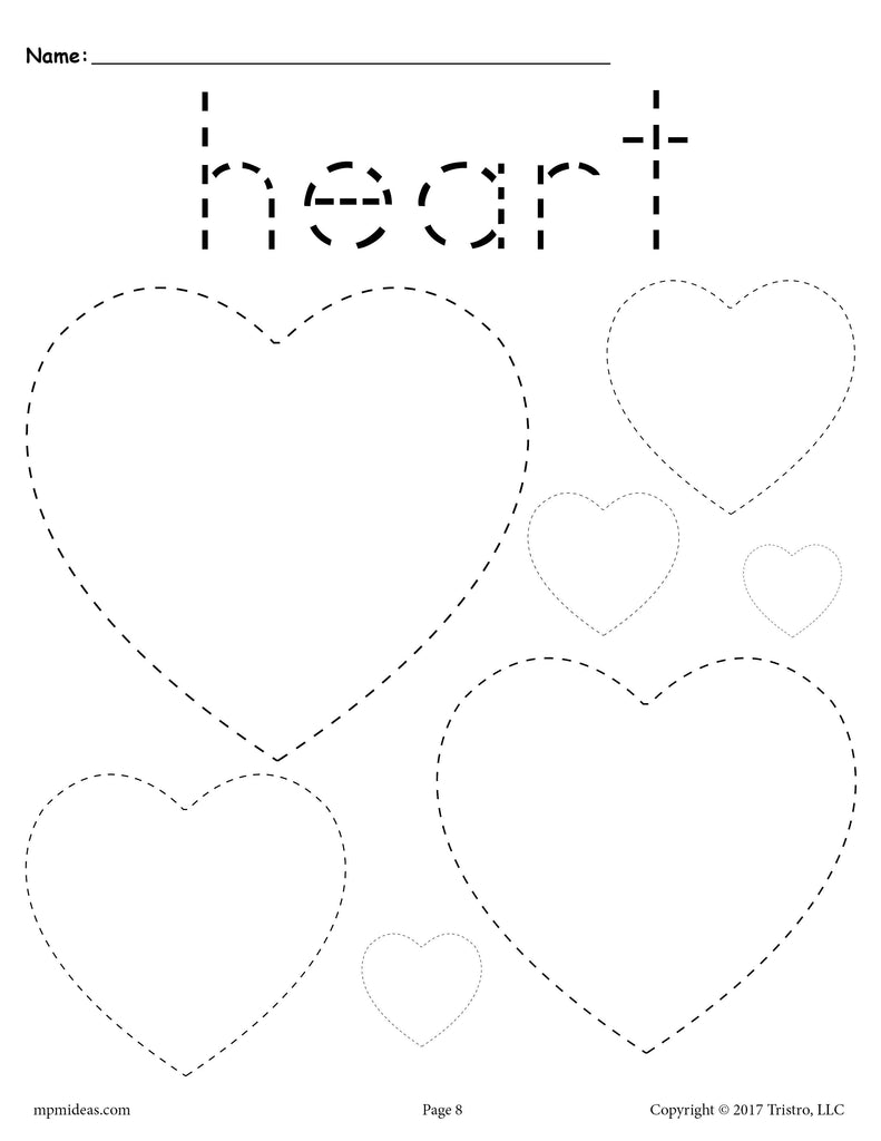 free hearts tracing worksheet tracing shapes worksheets supplyme. Black Bedroom Furniture Sets. Home Design Ideas