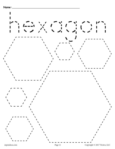 Free Hexagons Tracing Worksheet Tracing Shapes