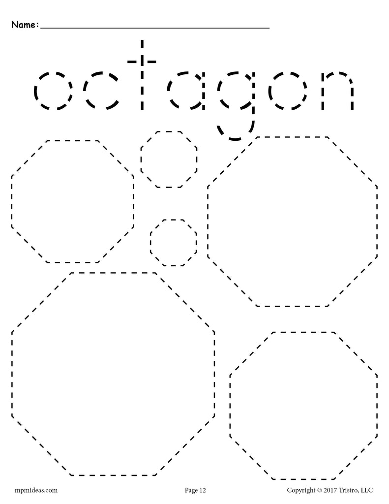 FREE Octagons Tracing Worksheet