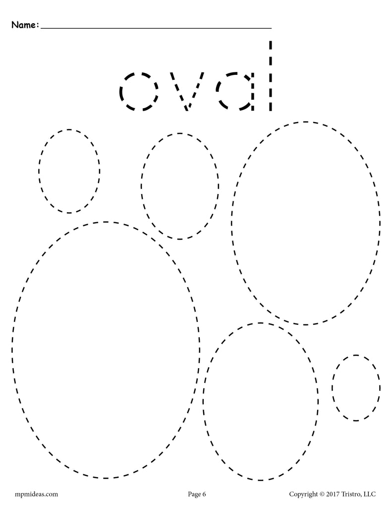 Free Ovals Tracing Worksheet Tracing Shapes Worksheets