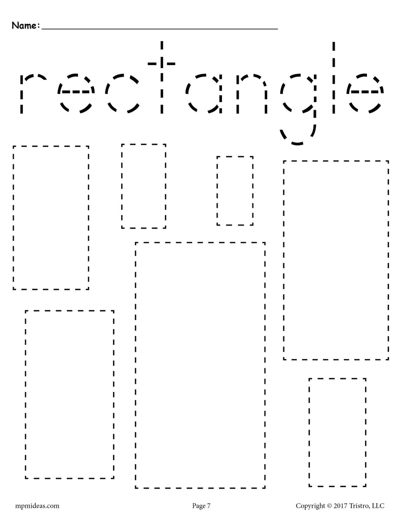 Free Rectangles Tracing Worksheet Tracing Shapes