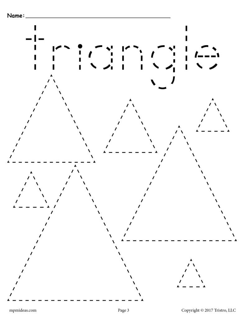 12 shapes tracing worksheets circles squares triangles for Shape tracing templates
