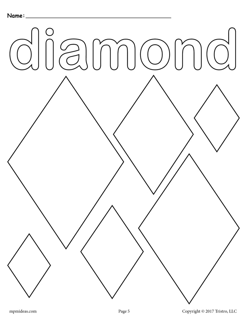 Free diamonds coloring page diamond shape worksheet for Diamond coloring page