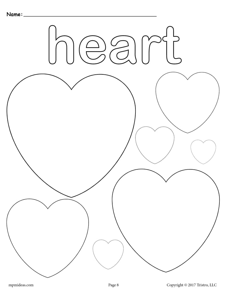 FREE Hearts Coloring Page - Heart Shape Worksheet – SupplyMe