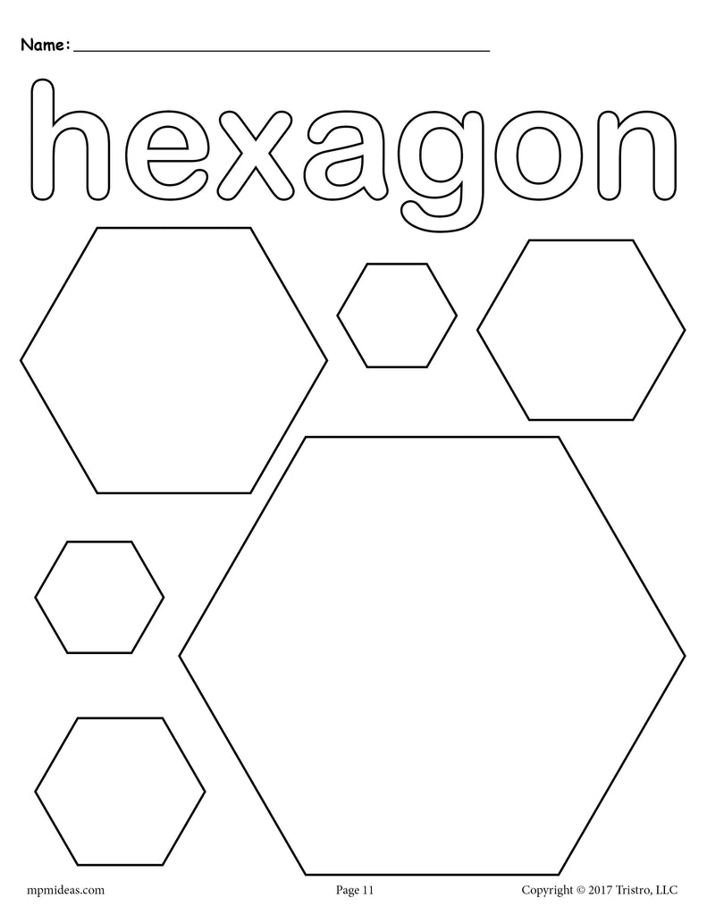FREE Hexagons Coloring Page Hexagon Shape Worksheet