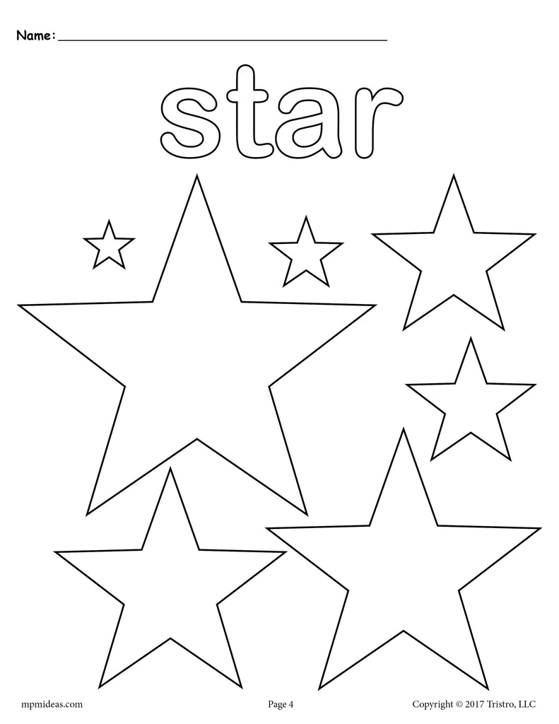 FREE Stars Coloring Page - Star Shape Worksheet