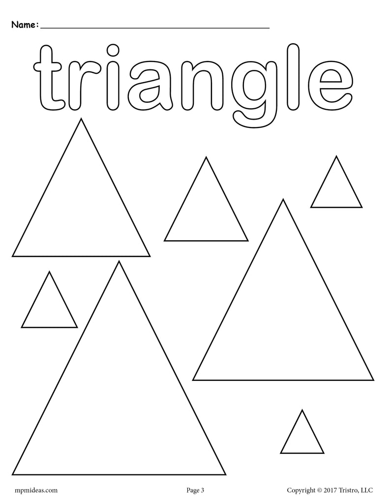 12 Shapes Coloring Pages - Circles, Squares, Triangles ...