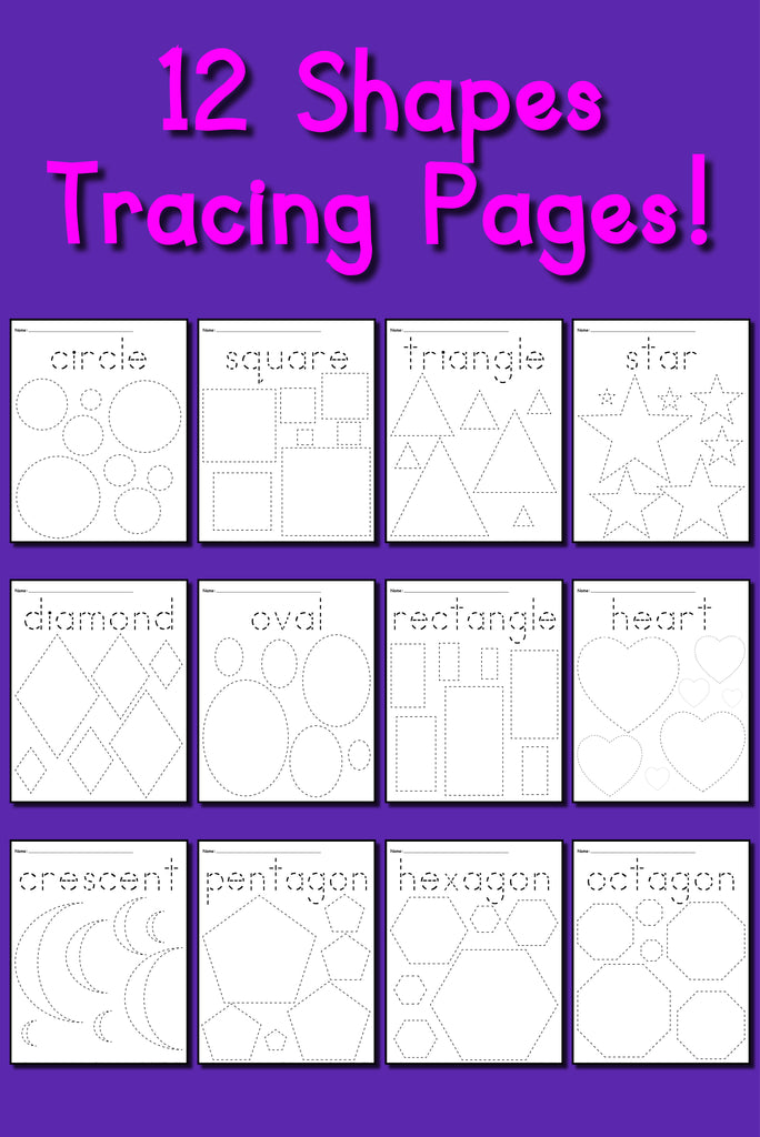 12 Shapes Tracing Worksheets Circles Squares Triangles