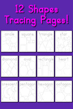 12 Shapes Tracing Worksheets!