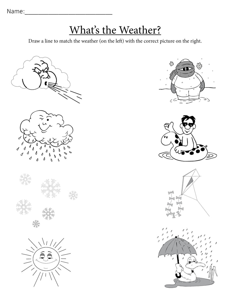 quot What 39 s the Weather quot FREE Printable Matching Worksheet
