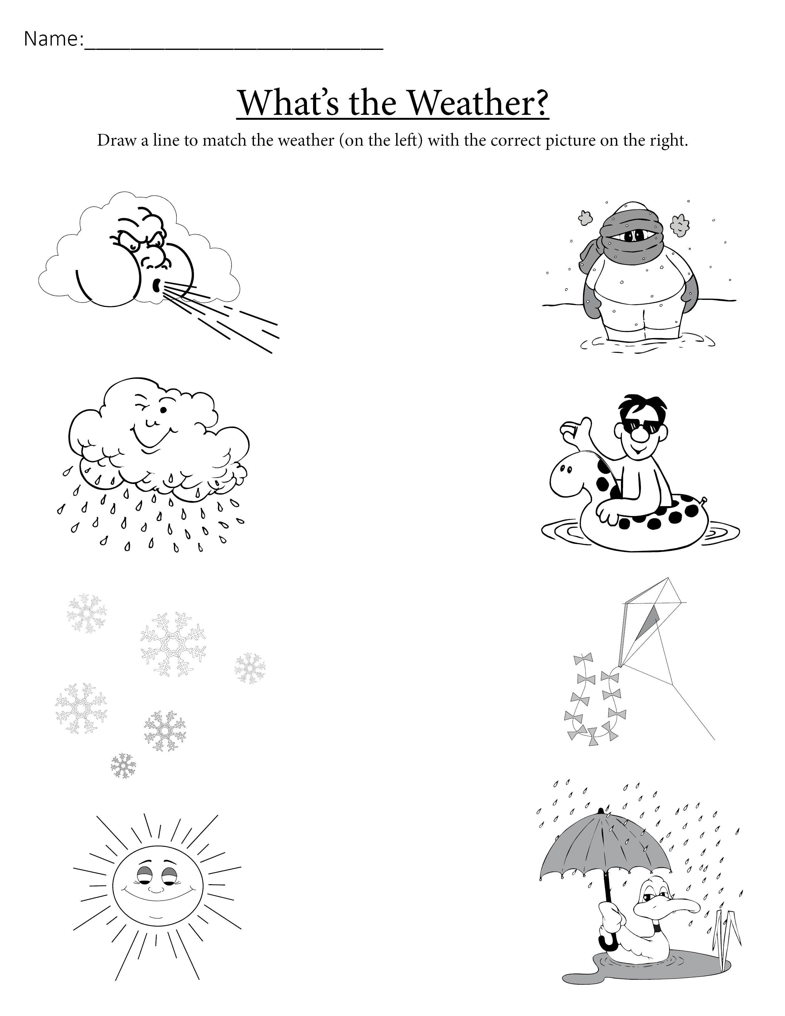 """""""What's the Weather?"""" Printable Matching Worksheet"""